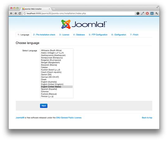 Внешний вид установки новой версии CMS Joomla 3.0